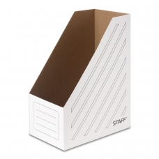 Лоток вертикальный для бумаг 250х320 мм, увеличенная ширина 150 мм, до 1400 листов, микрогофрокартон, STAFF, БЕЛЫЙ, 128884