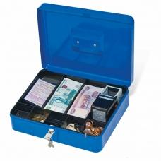 Ящик для денег, ценностей, документов, печатей, 90х240х300 мм, ключевой замок, синий, BRAUBERG, 290336