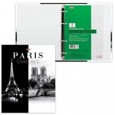 Тетрадь на кольцах А5 170х220 мм, 120 л., обложка ламинированный картон, клетка, HATBER, 'Париж', 120ТК5B1_10506, T103135