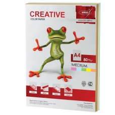 Бумага CREATIVE color Креатив, А4, 80 г/м2, 100 л. 5 цв.х20 л., цветная медиум, БОpr-100r