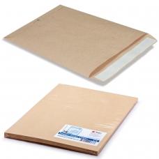 Конверт-пакет С4 плоский, комплект 25 шт., 229х324 мм, отрывная полоса, крафт-бумага, коричневый, на 90 листов, 161150.25