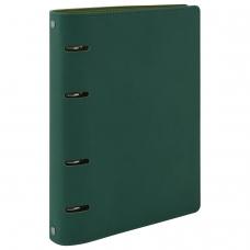 Тетрадь на кольцах 120 л. BRAUBERG А5 'Joy', под фактурную кожу, зелёный/светло-зелёный, 129991