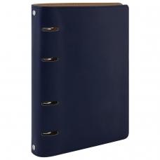Тетрадь на кольцах, 120 листов, BRAUBERG, А5, 'Fusion', под фактурную кожу, синий/оранжевый, 129994
