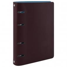 Тетрадь на кольцах, 120 листов, BRAUBERG, А5, 'Fusion', под фактурную кожу, коричневый/голубой, 129995
