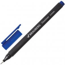 Ручка капиллярная BRAUBERG 'Carbon', СИНЯЯ, металлический наконечник, трехгранная, линия письма 0,4 мм, FL100