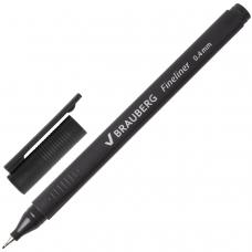 Ручка капиллярная BRAUBERG 'Carbon', ЧЕРНАЯ, металлический наконечник, трехгранная, линия письма 0,4 мм, FL101