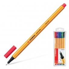 Ручки капиллярные STABILO, набор 6 шт., 'Point', 0,4 мм голубая, красная, синяя, черная, фиолетовая, сиреневая, 88/6