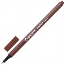 Ручка капиллярная BRAUBERG 'Aero', КОРИЧНЕВАЯ, трехгранная, металлический наконечник, линия письма 0,4 мм, FL113