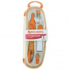 Готовальня BRAUBERG 'Modern', 5 предметов: циркуль 135 мм, резинка, точилка, отвёртка, грифель