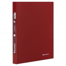 Папка с металлическим скоросшивателем и внутренним карманом BRAUBERG 'Диагональ', темно-красная, до 100 листов, 0,6 мм, 221355