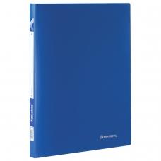 Папка на 2 кольцах BRAUBERG 'Office', 21 мм, синяя, до 120 листов, 0,5 мм, 221611