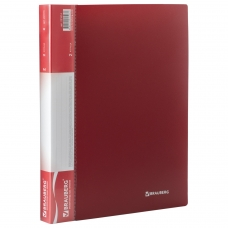 Папка на 2 кольцах BRAUBERG 'Стандарт', 25 мм, красная, до 170 листов, 0,8 мм, 221614
