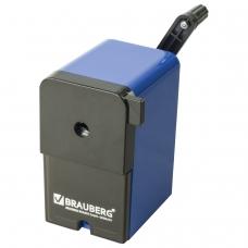 Точилка механическая BRAUBERG 'RoboBlue', металлический механизм, чёрный/синий, 222515