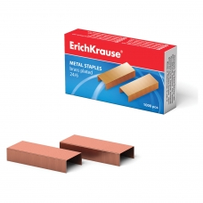 Скобы для степлера ERICH KRAUSE № 24/6, 1000 штук, в картонной коробке, медное покрытие, до 20 листов, 7143
