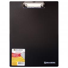 Доска-планшет BRAUBERG 'Contract', плотная, с верхним зажимом, А4, 313х225 мм, пластик, черная, 1,5 мм, 223491