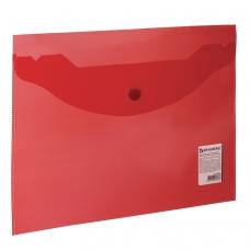 Папка-конверт с кнопкой BRAUBERG, А5, 240х190 мм, 150 мкм, прозрачная, красная, 224026