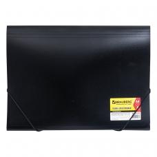 Папка на резинках BRAUBERG 'Business', А4, 6 отделений, пластиковый индекс, черная, 0,5 мм, 224145