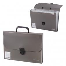 Портфель пластиковый BRAUBERG, 'Проект А4', 330х240х35 мм, 13 отделений, фактура стандарт, серый, 226027