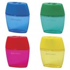 Точилка BRAUBERG 'Diamond Dual' с контейнером, пластиковая, овальная, 2 отверстия, цвет ассорти, 226941