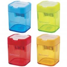 Точилка BRAUBERG 'Peak' с контейнером, пластиковая, прямоугольная, 2 отверстия, цвет ассорти, 226945