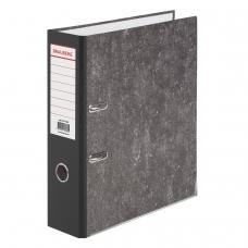 Папка-регистратор BRAUBERG, усиленный корешок, мраморное покрытие, 80 мм, с уголком, черная, 227188
