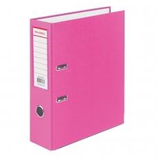 Папка-регистратор BRAUBERG с покрытием из ПВХ, 80 мм, с уголком, розовая удвоенный срок службы, 227195
