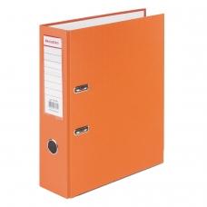 Папка-регистратор BRAUBERG с покрытием из ПВХ, 80 мм, с уголком, оранжевая удвоенный срок службы, 227199