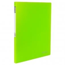 Папка с металлическим скоросшивателем и внутренним карманом BRAUBERG 'Neon', 16 мм, зеленая, до 100 листов, 0,7 мм, 227464