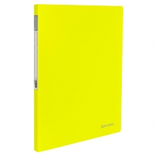 Папка с металлическим скоросшивателем и внутренним карманом BRAUBERG 'Neon', 16 мм, желтая, до 100 листов, 0,7 мм, 227465