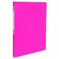 Папка с металлическим скоросшивателем и внутренним карманом BRAUBERG 'Neon', 16 мм, розовая, до 100 листов, 0,7 мм, 227466
