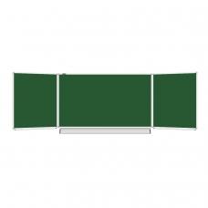 Доска для мела магнитная BRAUBERG, 100х150/300 см, 3-х элементная, 5 рабочих поверхностей, зеленая, 231707