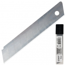 Лезвия для ножей 18 мм STAFF, комплект 10 шт., толщина лезвия 0,38 мм, в пластиковом пенале, 235466