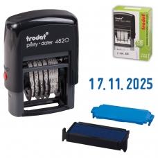 Датер-мини месяц цифрами, оттиск 22х4 мм, синий, TRODAT 4820 BANK, корпус черный, 82498