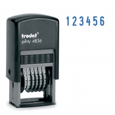 Нумератор 6-разрядный, оттиск 15х3,8 мм, синий, TRODAT 4836, корпус черный, 53199