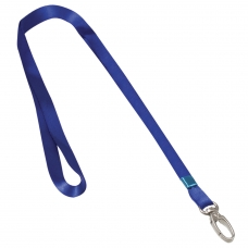 Лента для бейджей BRAUBERG, 45 см, металлический карабин, синяя, 235737