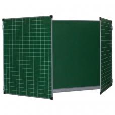 Доска для мела, магнитная BRAUBERG, 100х150/300 см, 3-х элементная, дополнительно линия/клетка, зеленая, ТЭ-300Мр