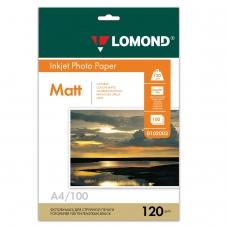 Фотобумага LOMOND для струйной печати, А4, 120 г/м2, 100 л., односторонняя матовая, 0102003