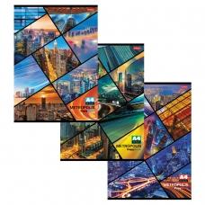 Тетрадь 48 л., А4, HATBER, клетка, обложка мелованный картон, 'Метрополис', 48Т4B3, T023181