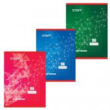 Тетрадь А4, 96 л., STAFF, клетка, офсет №2, обложка картон, ЭКСКЛЮЗИВ, 402651