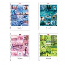 Тетрадь А4, 80 л., HATBER, гребень, клетка, сплошной лак, цветной срез, 'Краски дня' 4 вида, 80Т4В1гр