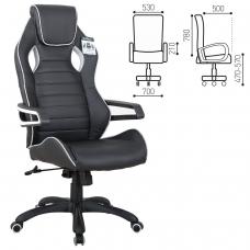 Кресло компьютерное BRABIX 'Techno Pro GM-003', экокожа, черное/серое, вставки серые