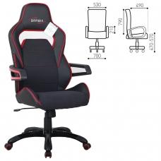 Кресло компьютерное BRABIX 'Nitro GM-001', ткань, экокожа, черное, вставки красные