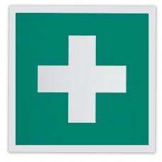 Знак 'Аптечка первой медицинской помощи', 200х200 мм, самоклейка, фотолюминесцентный, ЕС 01