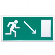 Знак эвакуационный 'Направление к эвакуационному выходу направо вниз', 300х150 мм, самоклейка, фотолюминесцентный, Е 07