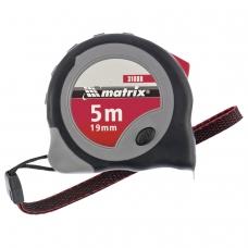 Рулетка измерительная 5,0 м х 19 мм, MATRIX 'Continuous Fixation', обрезиненный корпус, 2 механизма фиксации, 31088